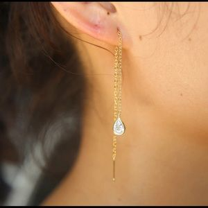 Gold over silver tear drop zircon earring thread